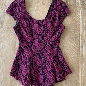 Tops - Lace peplum shirt